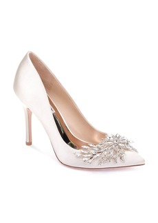 Badgley Mischka Marcela Satin Embellished Pointed Toe Pumps