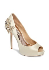 Badgley Mischka Marcia Embellished Peep Toe Pump (Women)