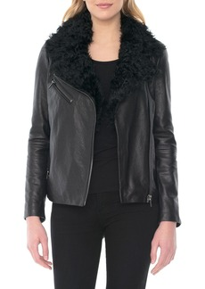 Badgley Mischka Marianne Genuine Shearling Collar Moto Jacket