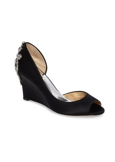 Badgley Mischka Meagan Embellished Peep Toe Wedge (Women)
