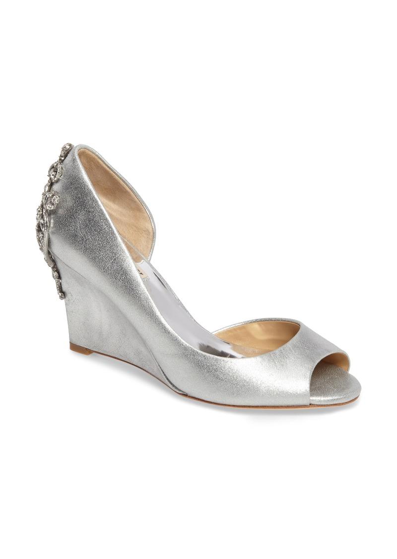 Badgley Mischka Meagan Embellished Peep Toe Wedge AFJj6