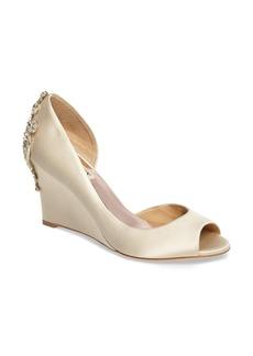 Badgley Mischka Meagan Embellished Peep Toe Wedge (Women)