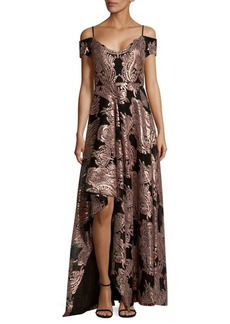 Badgley Mischka Mesh Sequin Off-Shoulder Hi-Lo Dress