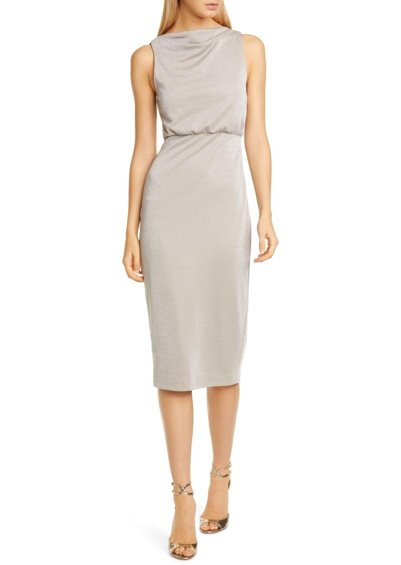 Badgley Mischka Metallic Jersey Cocktail Dress
