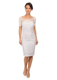 Badgley Mischka Metallic Lace & Stretch Tulle Cocktail Dress