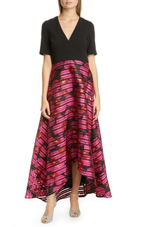 Badgley Mischka Mixed Media High/Low Gown