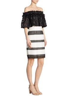 Badgley Mischka Mixed Media Lace Dress
