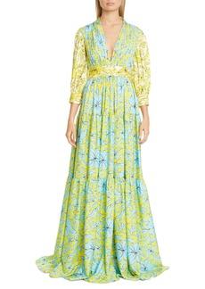 Badgley Mischka Mixed Print Tiered Gown