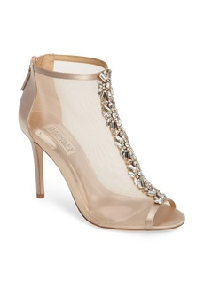 Badgley Mischka Moss Embellished Open Toe Bootie (Women)