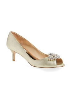 Badgley Mischka 'Nakita II' Kitten Heel Peep Toe Pump (Women)