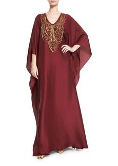 Badgley Mischka Necklace-Beaded V-Neck Caftan Gown