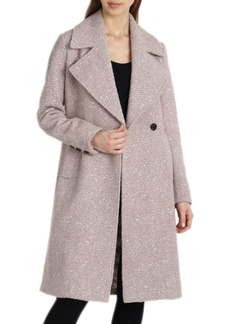Badgley Mischka Notch Collar Bouclé Wool Blend Coat