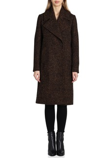 Badgley Mischka Notch Collar Bouclé Wool Blend Coat