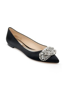 Badgley Mischka Octavia Crystal Embellished Skimmer Flat (Women)