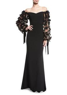 Badgley Mischka Odessa Off-the-Shoulder Crepe Evening Gown w/ 3D Florals
