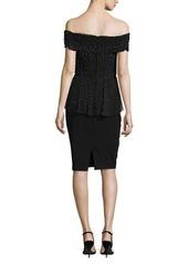 Badgley Mischka Off-the-Shoulder Beaded Tulle & Crepe Peplum Dress
