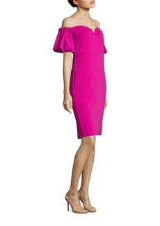 Badgley Mischka Off-the-Shoulder Bell Sleeve Cocktail Dress