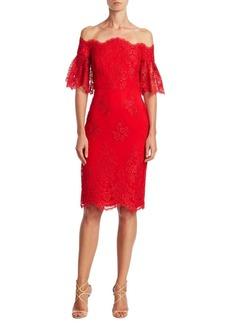 Badgley Mischka Off-The-Shoulder Bell Sleeve Dress