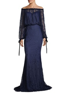 Badgley Mischka Off-the-Shoulder Blouson-Top Lace Evening Gown