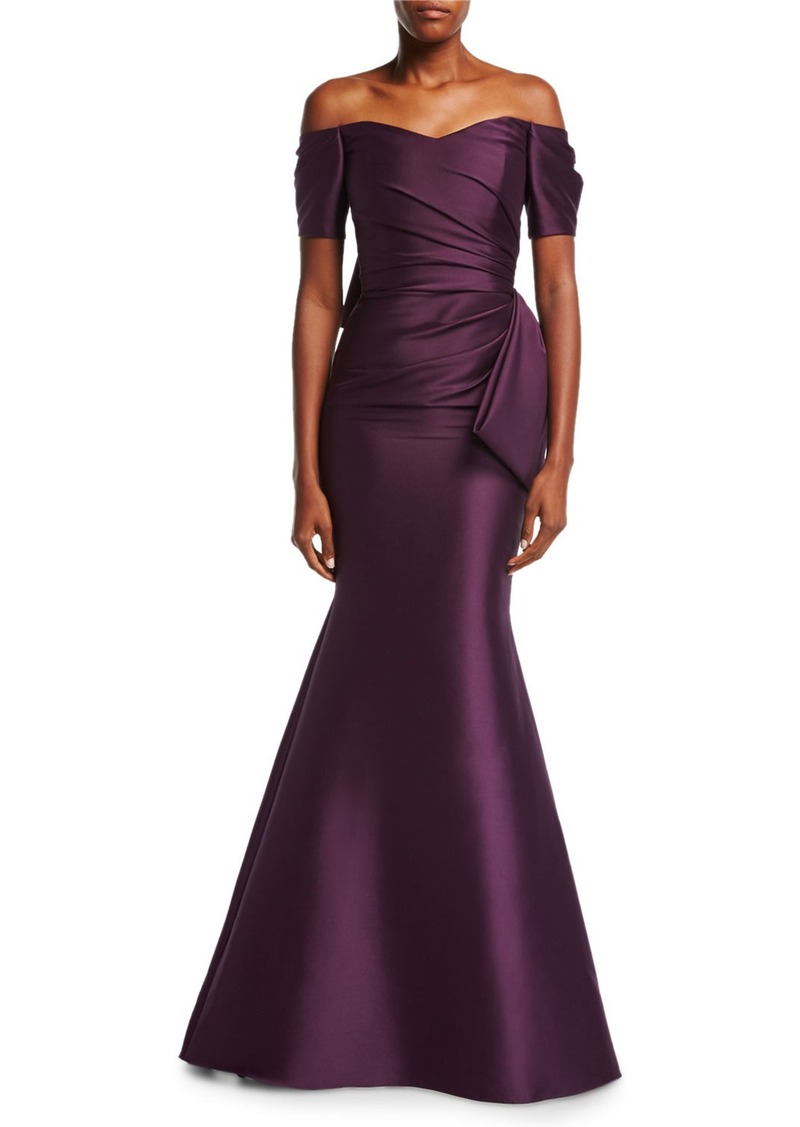 0f9dba83ca96 Badgley Mischka Off-the-Shoulder Bow-Back Ruched Satin Evening Gown