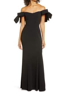 Badgley Mischka Off the Shoulder Bow Sleeve Mermaid Gown