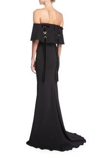 Badgley Mischka Off-the-Shoulder Crepe Evening Gown w/ Velvet Laces