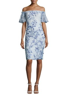 Badgley Mischka Off-the-Shoulder Embroidered Lace Cocktail Dress