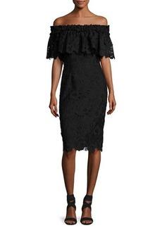 Badgley Mischka Off-the-Shoulder Floral Lace Popover Cocktail Dress