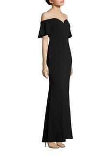 Off-The-Shoulder Flutter Sleeve Gown