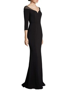 Badgley Mischka Off-The-Shoulder Gown