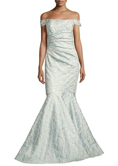 Badgley Mischka Off-the-Shoulder Jacquard Siren Gown