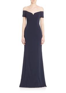 Badgley Mischka Off-The-Shoulder Jersey Gown