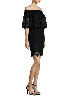 Badgley Mischka Cape Lace Dress