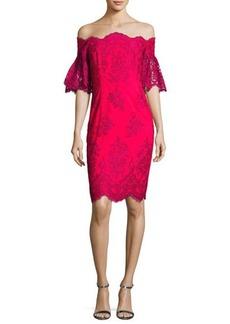 Badgley Mischka Off-the-Shoulder Lace Sheath Dress