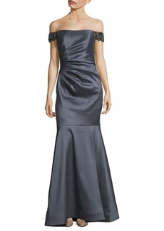 Badgley Mischka Off-The-Shoulder Mermaid Gown