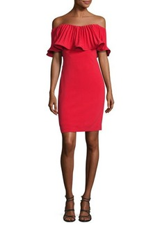 Badgley Mischka Off-the-Shoulder Pleated Stretch Crepe Cocktail Dress