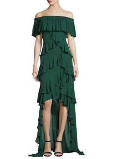 Badgley Mischka Off-the-Shoulder Ruffled High-Low Gown