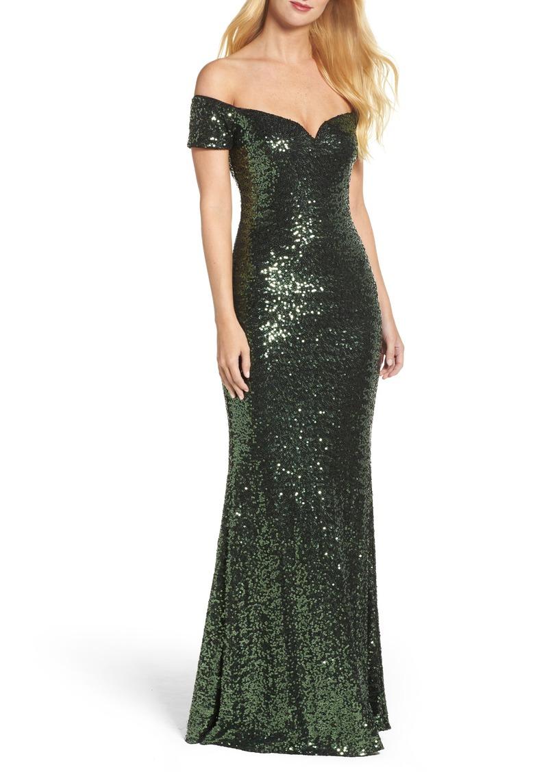 Badgley Mischka Badgley Mischka Off the Shoulder Sequin Gown | Dresses