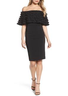 Badgley Mischka Off the Shoulder Sheath Dress