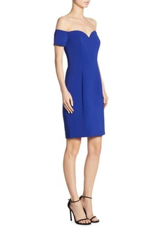 Badgley Mischka Off-The-Shoulder Sheath Dress
