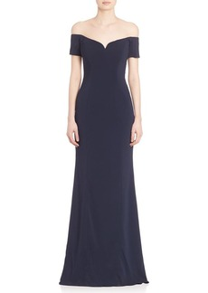 Badgley Mischka Off-The-Shoulder Short Sleeve Gown