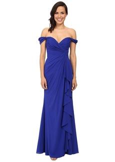Badgley Mischka Off The Shoulder Silk Ruffle Front Gown