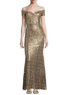 Badgley Mischka Off-the-Shoulder Sweetheart Sequin Gown