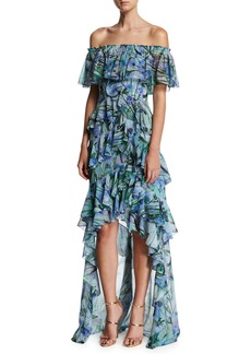 Badgley Mischka Off-the-Shoulder Tiered Floral Chiffon High-Low Gown