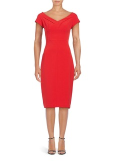 BADGLEY MISCHKA Off the Shoulder V-Neck Sheath Dress
