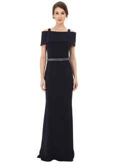 Badgley Mischka Off the Shoulder Wrap Gown with Beaded Waist