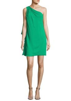 Badgley Mischka One-Shoulder Side-Ruffle Chiffon Dress