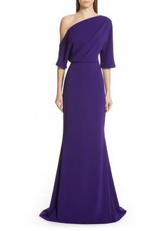 Badgley Mischka One-Shoulder Trumpet Evening Dress
