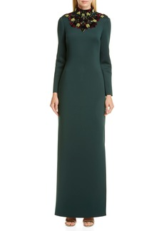Badgley Mischka Open Back Long Sleeve Embellished Gown