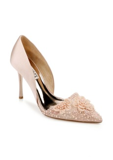 Badgley Mischka Ophelia Beaded Floral Pointed Toe Pump (Women)